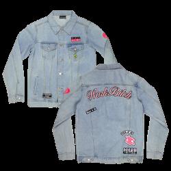 """Veste en jean à pin's """"Work..."""